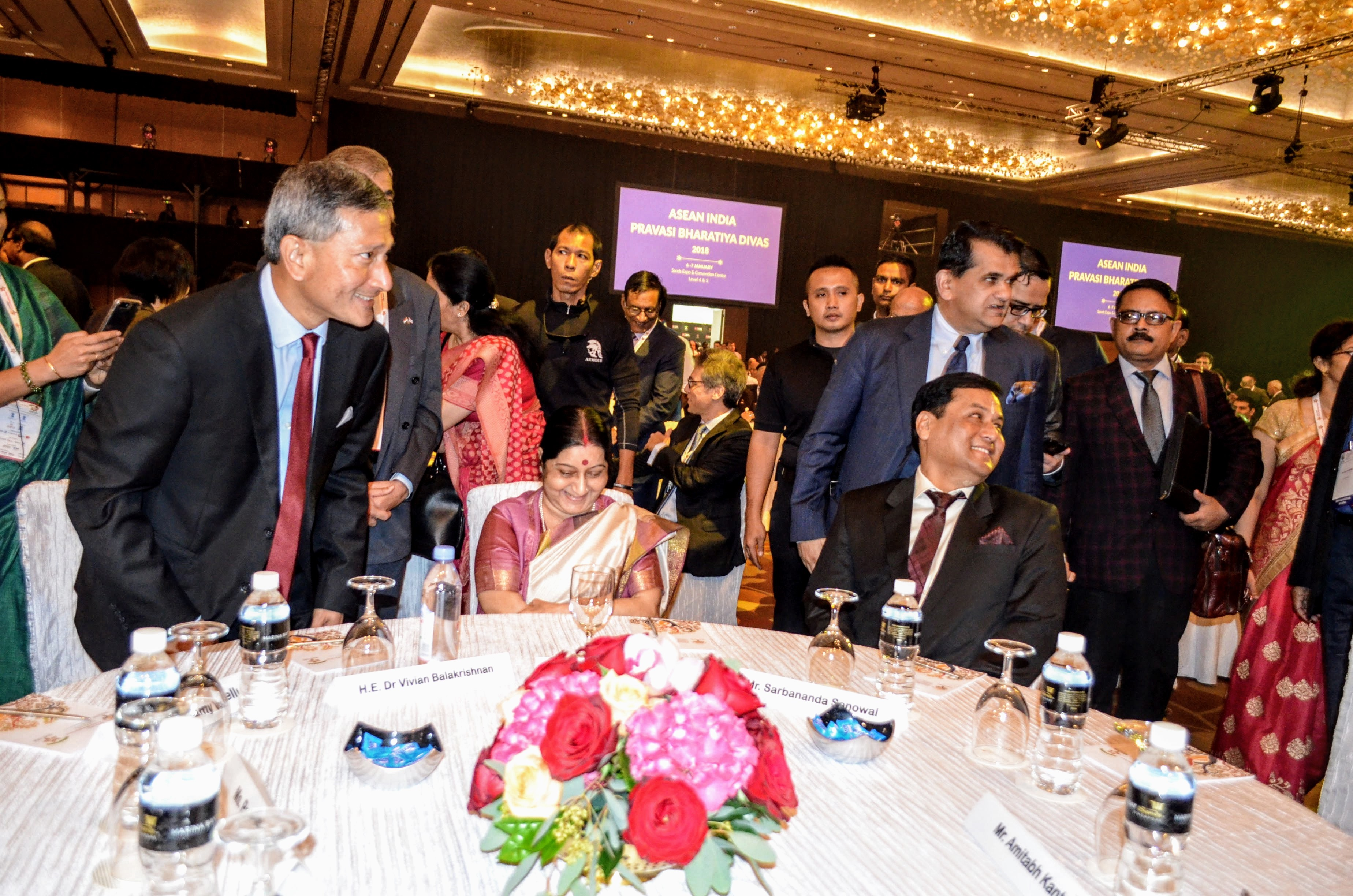 (From left) Singapore MFA Dr Vivian Balakrishnan, India EAM Sushma Swaraj and Chief Minister of Assam Sarbananda Sonowal share a laugh during the PBD plenary session in the main ballroom at Marina Bay Sands.