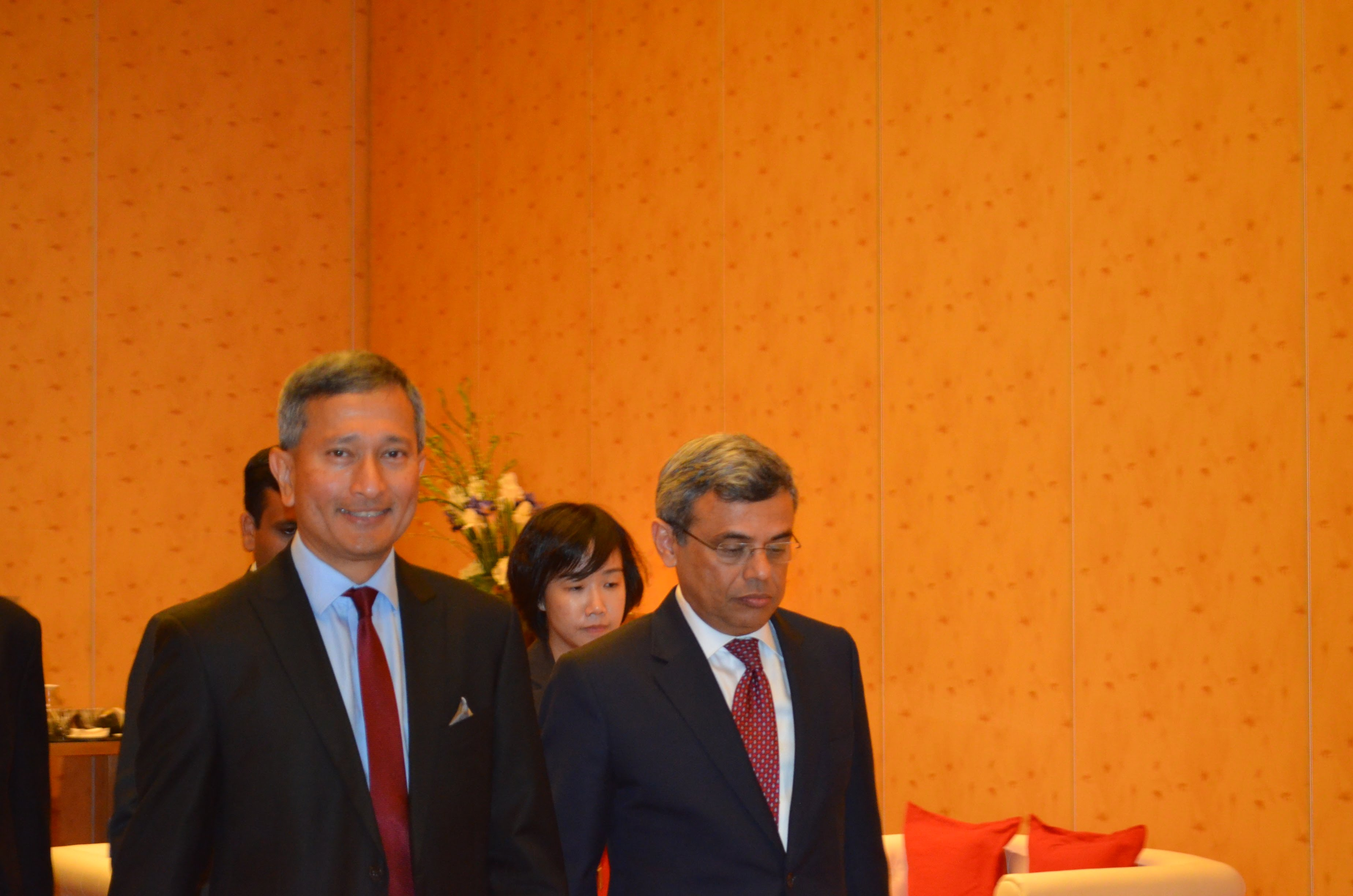 Minister for Foreign Affairs of Singapore Dr Vivian Balakrishnan and High Commissioner of India to Singapore Jawed Ashraf walk together while arriving at the venue.