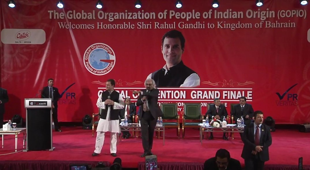 Rahul Gandhi while interacting with the gathering in Bahrain during the Question-Answer session.