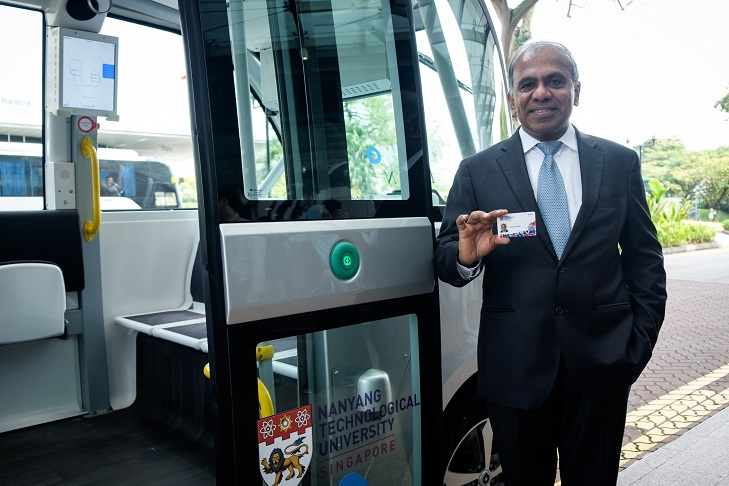 NTU's new president, Professor Subra Suresh holding the new multi-use smart card. Photo courtesy: NTU