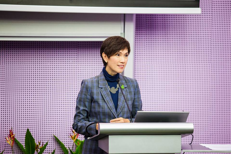 Second Minister for Home Affairs and Manpower of Singapore Josephine Teo speaking at the 'Women in Technology and Design conference'.