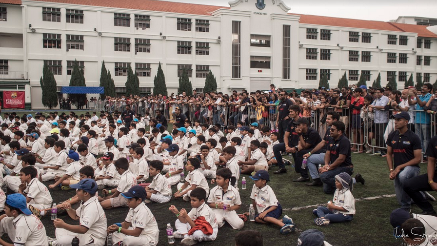 Young fans and parents listen to Captain Cool at St. Patricks School on on East Coast Road Photo: Connected to India