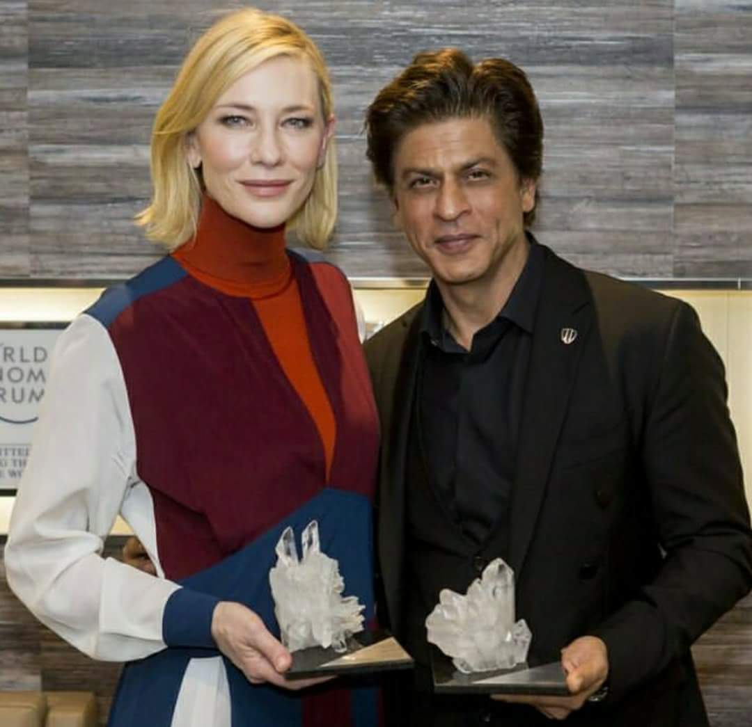 SRK with Australian actress Cate Blanchett posing with their Crystal Awards at Davos 2018.