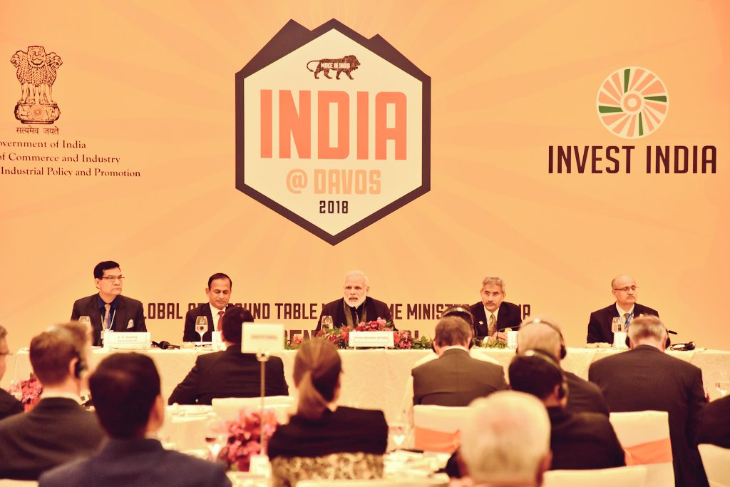 Indian Prime Minister Narendra Modi hosted a round table meeting with CEOs of top global companies at Davos. He narrated India's growth story and presented the exciting opportunities for global business in India.