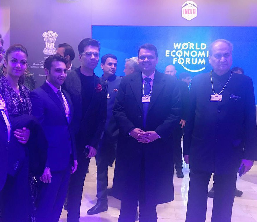 Bollywood director Karan Johar, Chief Minister of Indian state of Maharashtra Devendra Fadnavis and Chairman of Bajaj Group Rahul Bajaj present at World Economic Forum at Davos.