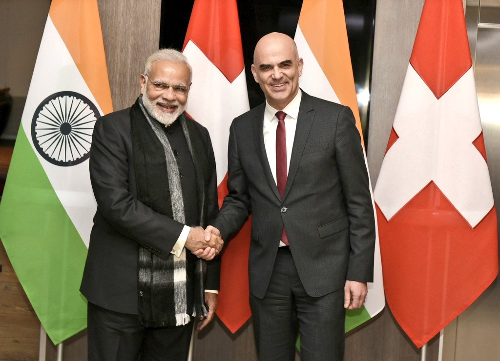 Indian Prime Minister Narendra Modi meeting with Swiss President Alain Berset at Davos. The two leaders had productive discussions on steps to further deepen  the bilateral cooperation between the two countries.
