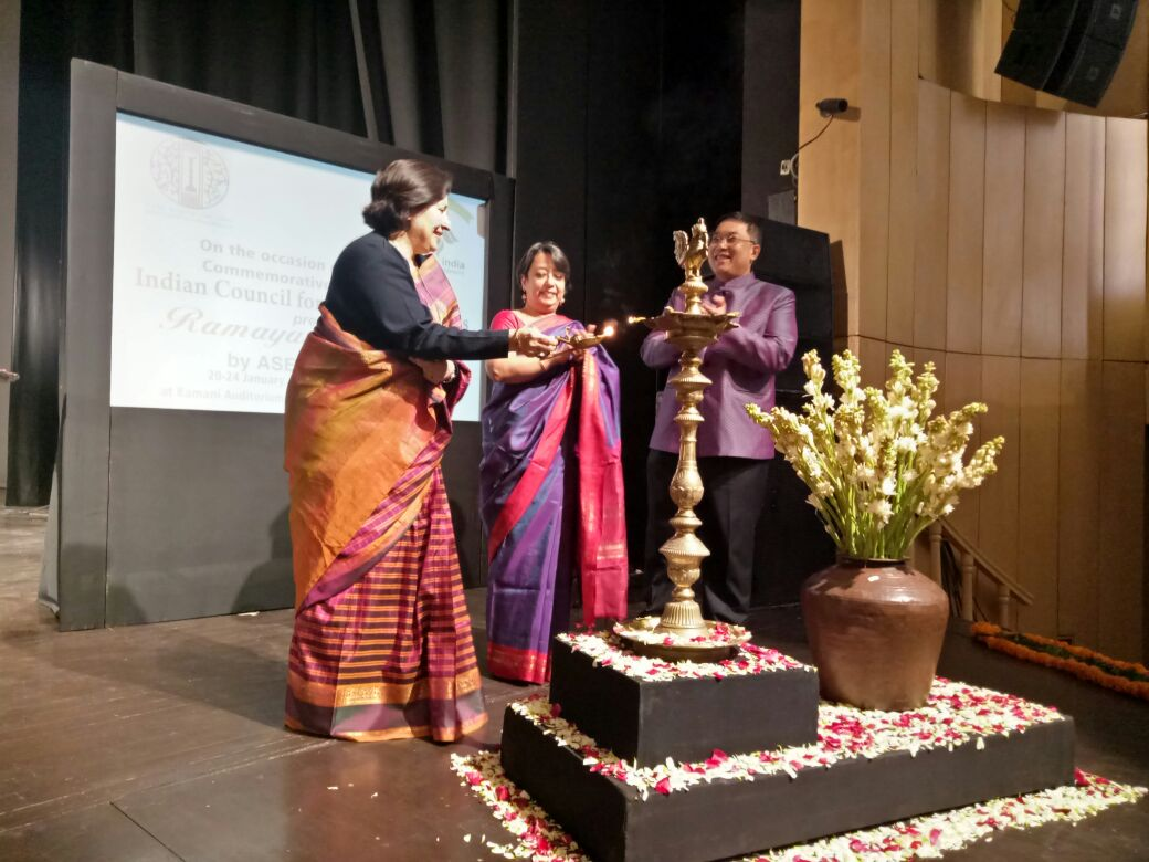 From left - Preeti Saran, Secretary East, MEA, Riva Gangly Das, Director General of ICCR and Thai Ambassador H.E. Mr. Chutintorn Gongsakdi inaugurate the Ramayana Festival in Delhi.
