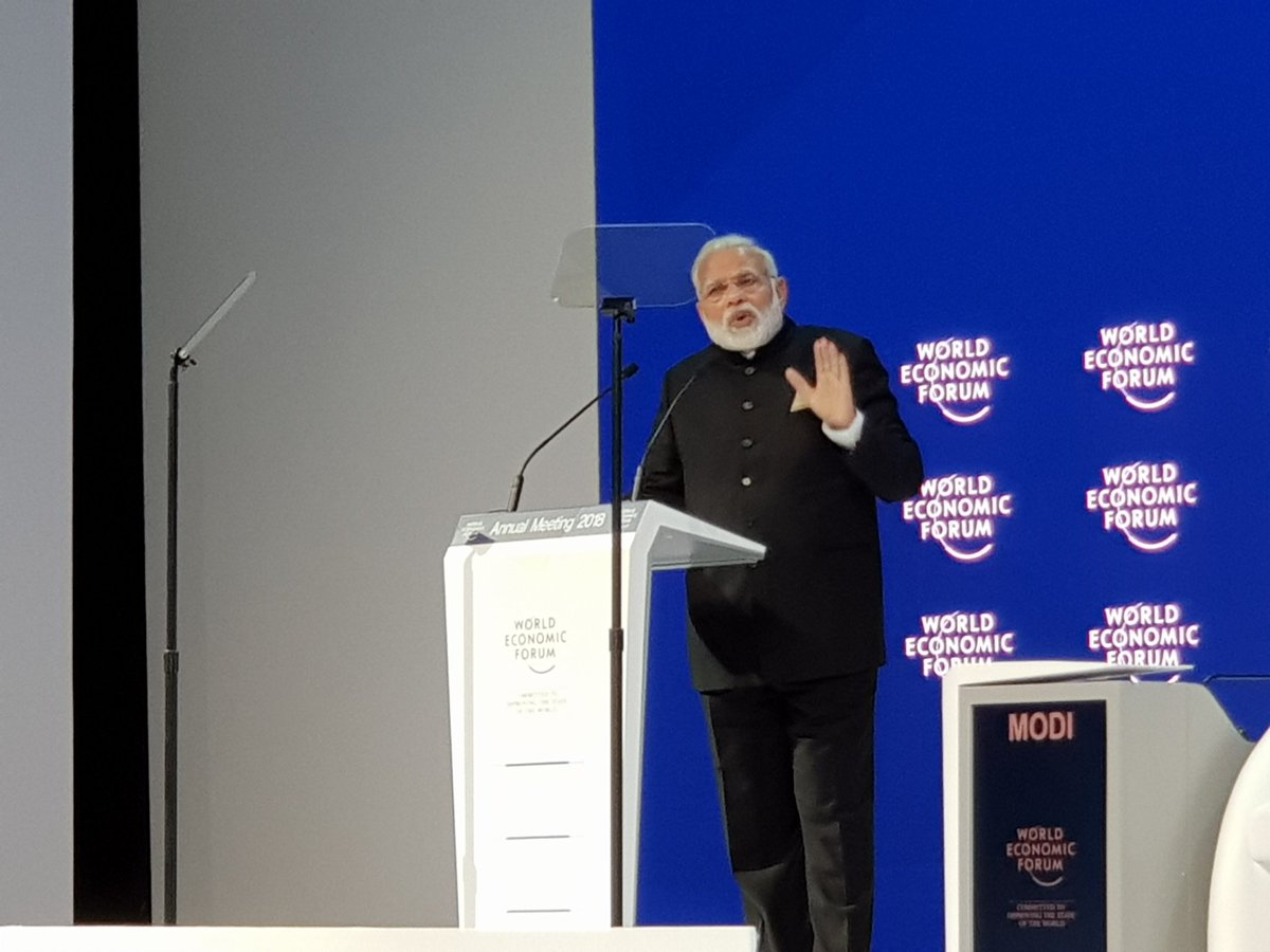 Indian Prime Minister Narendra Modi speaking at the plenary session of the 48th World Economic Forum (WEF) at Davos in Switzerland.