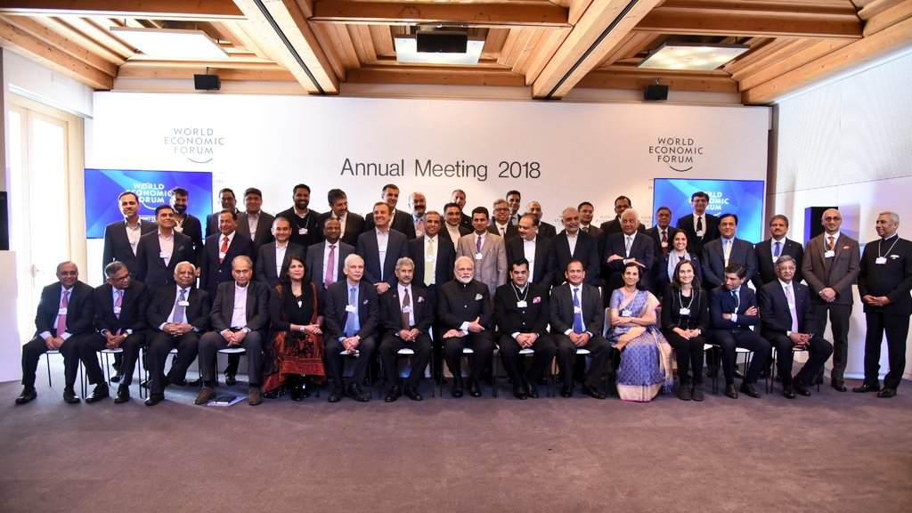 Indian Prime Minister Narendra Modi with Indian CEOs present at the World Economic Forum at Davos in Switzerland.