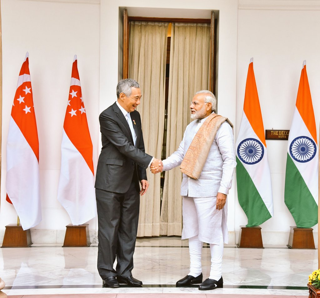 Prime Minister of Singapore Lee Hsien Loong meeting Indian Prime Minister Narendra Modi in New Delhi on Thursday. Photo courtesy: Twitter@MEA