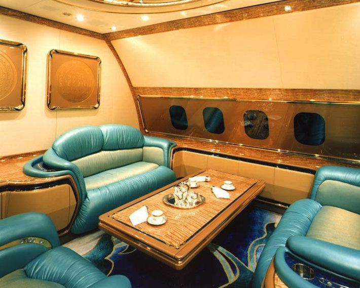 Interior view of the Boeing 747-400 aircraft owned by Brunei Sultan Hassanal Bolkiah.