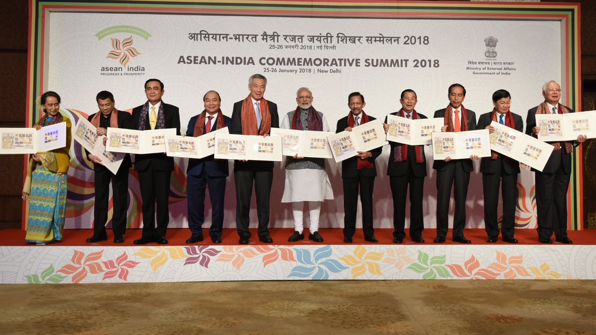 The leaders of the ASEAN nations and PM of India released a set of postage stamps which mark 25 years of ASEAN-India friendship.