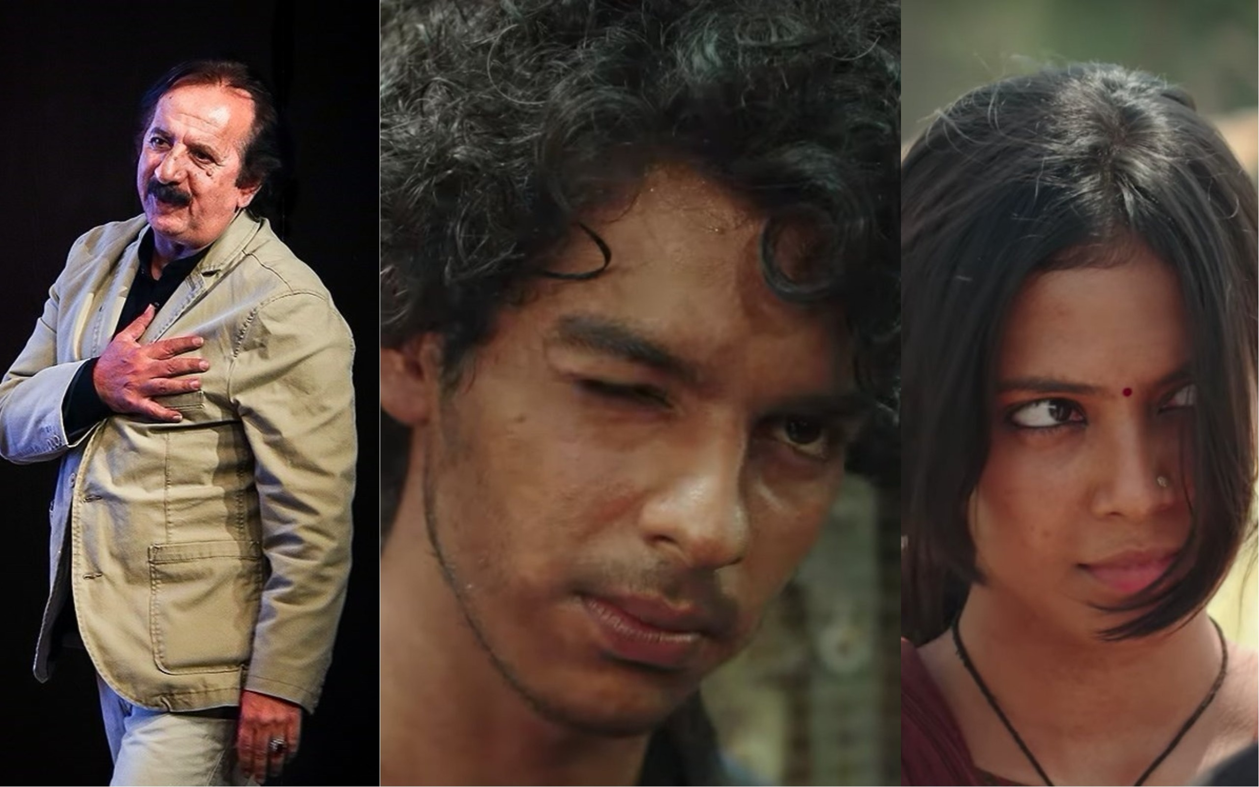 From left: Director Majid Majidi, Ishaan Khattar and Malavika Mohanan.