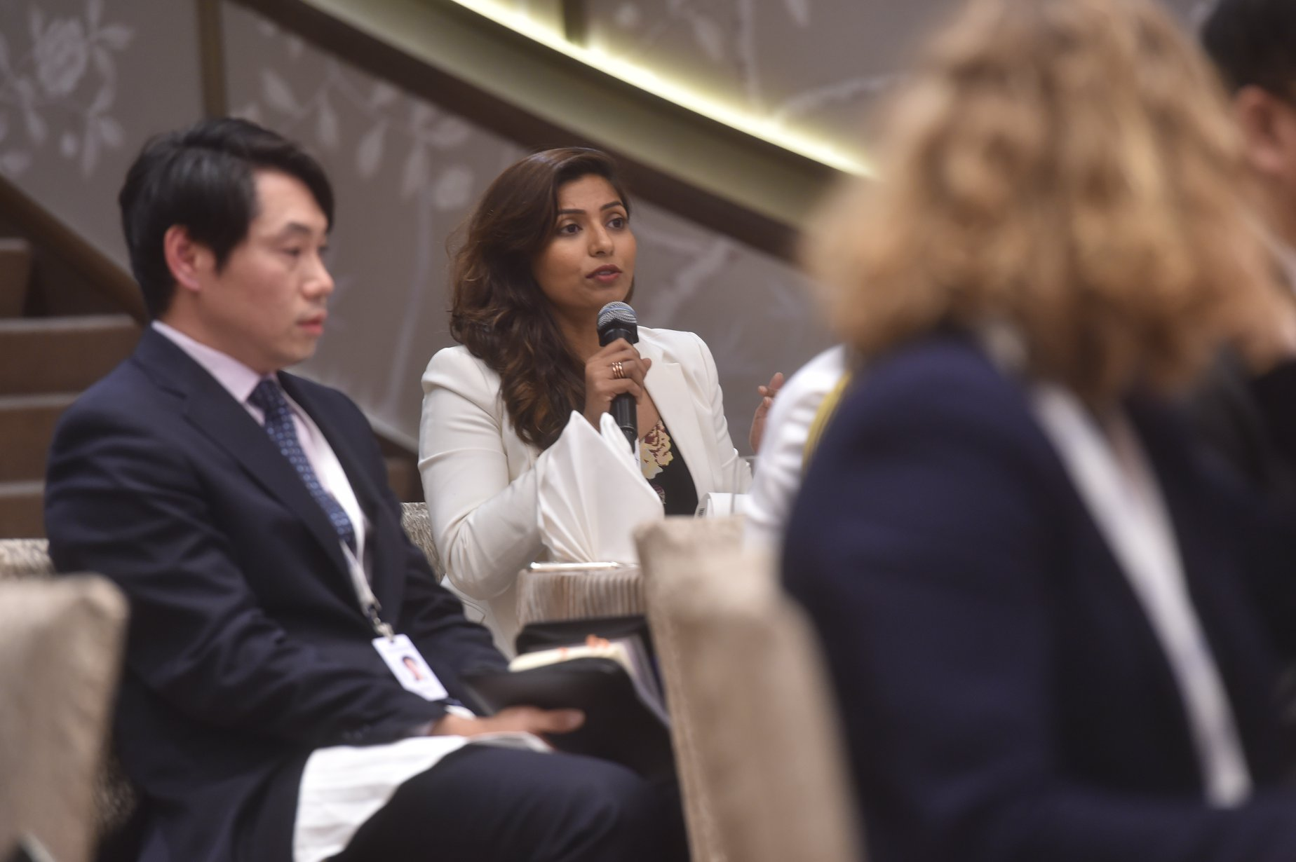 Gullnaz Baig, APAC Head, Terrorism Policy, Facebook, contributing to the discussion at the Shangri-La Dialogue Sherpa Meeting in Singapore.