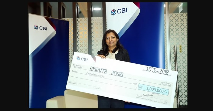 Amruta Joshi has won AED1 million in Commercial Bank International's annual draw.