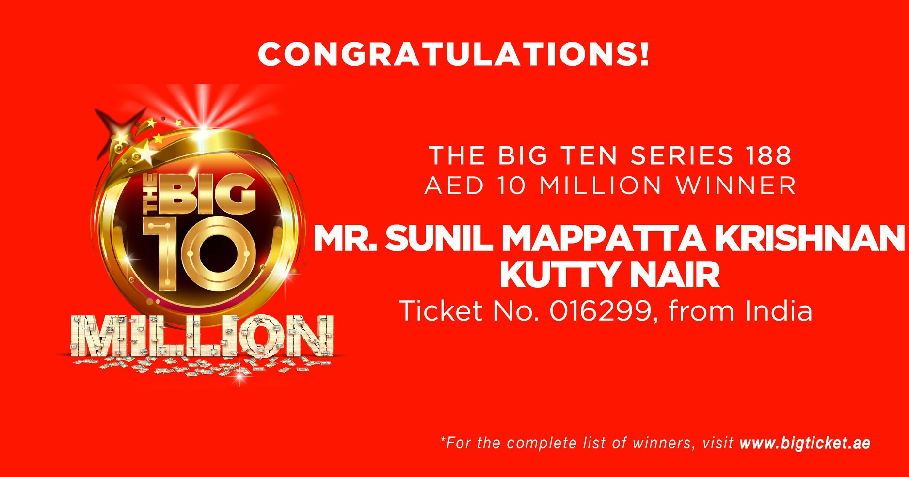 Indian expatriate, Sunil Mappatta Krishnan Kutty Nair has hit the jackpot by winning AED10 million. Photo courtesy: bigticket.ae