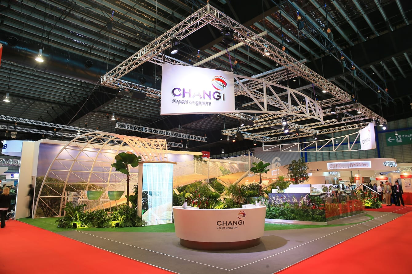 The Changi Airport booth at the Singapore Airshow 2018. Photo courtesy: Changi Airport Group