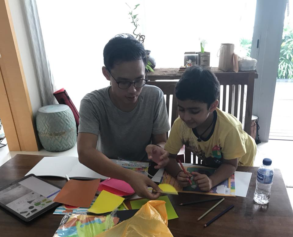 Saarth worked with Darel Seow (left), a well-known illustrator in Singapore, to bring his story to life.
