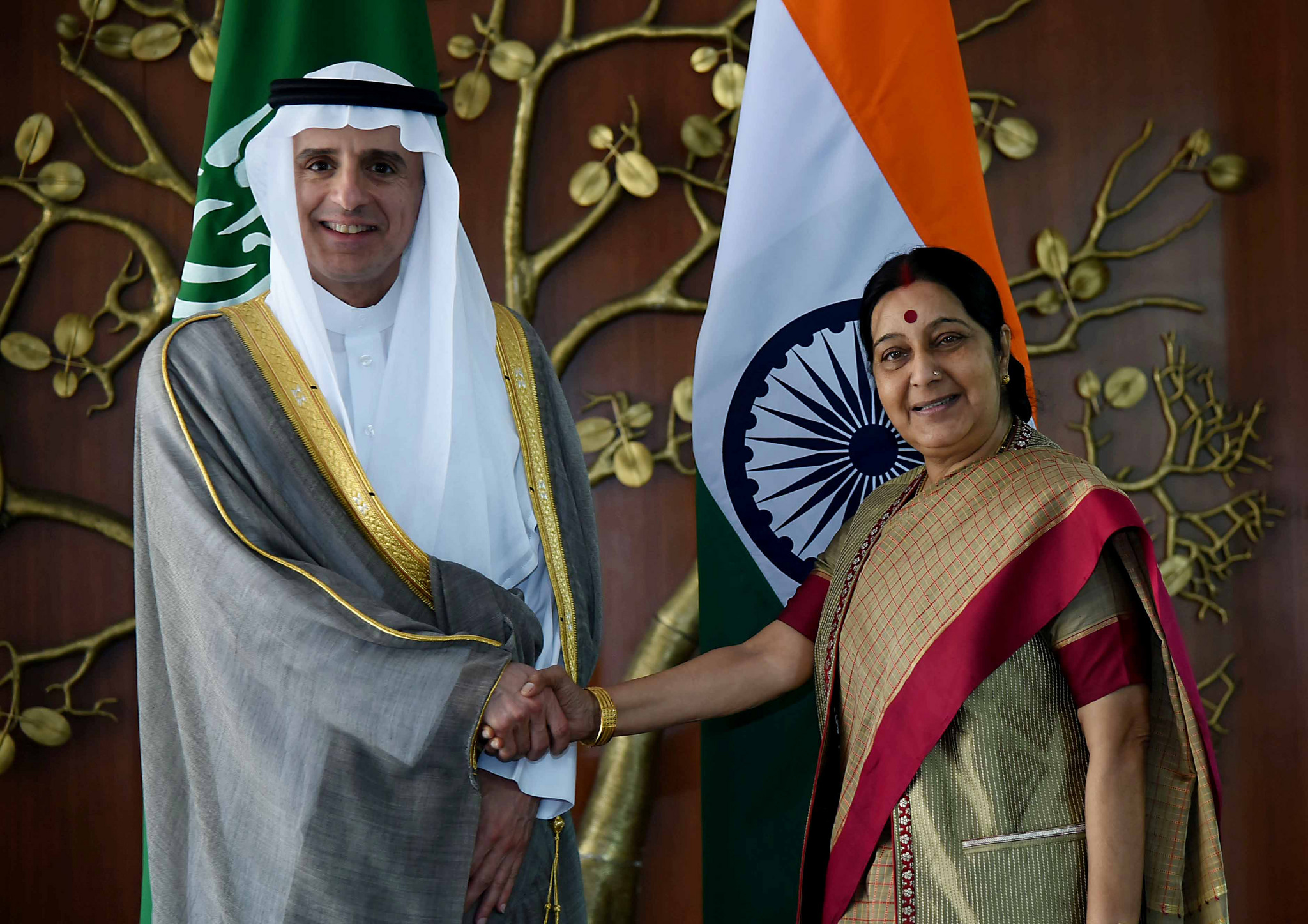 The visit of Indian External Affairs Minister Sushma Swaraj to Riyadh follows the visit of  Foreign Minister of Saudi Arabia, Adel Al-Jubeir, in New Delhi on March 08, 2016. Photo courtesy: MEA