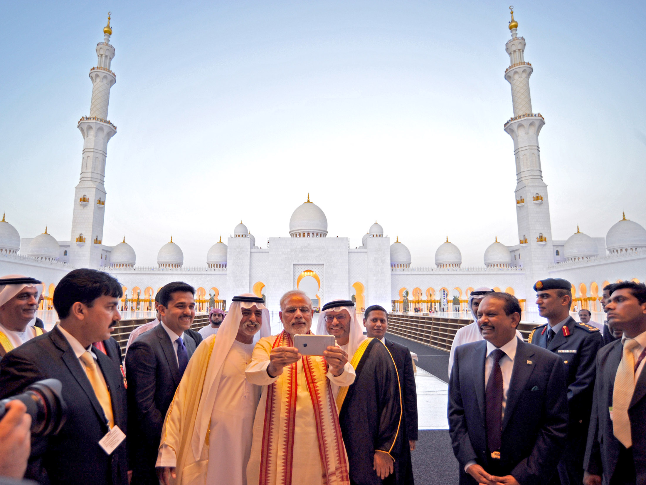 Indian Prime Minister Narendra Modi present in a mosque during his visit to UAE in August 2015.
