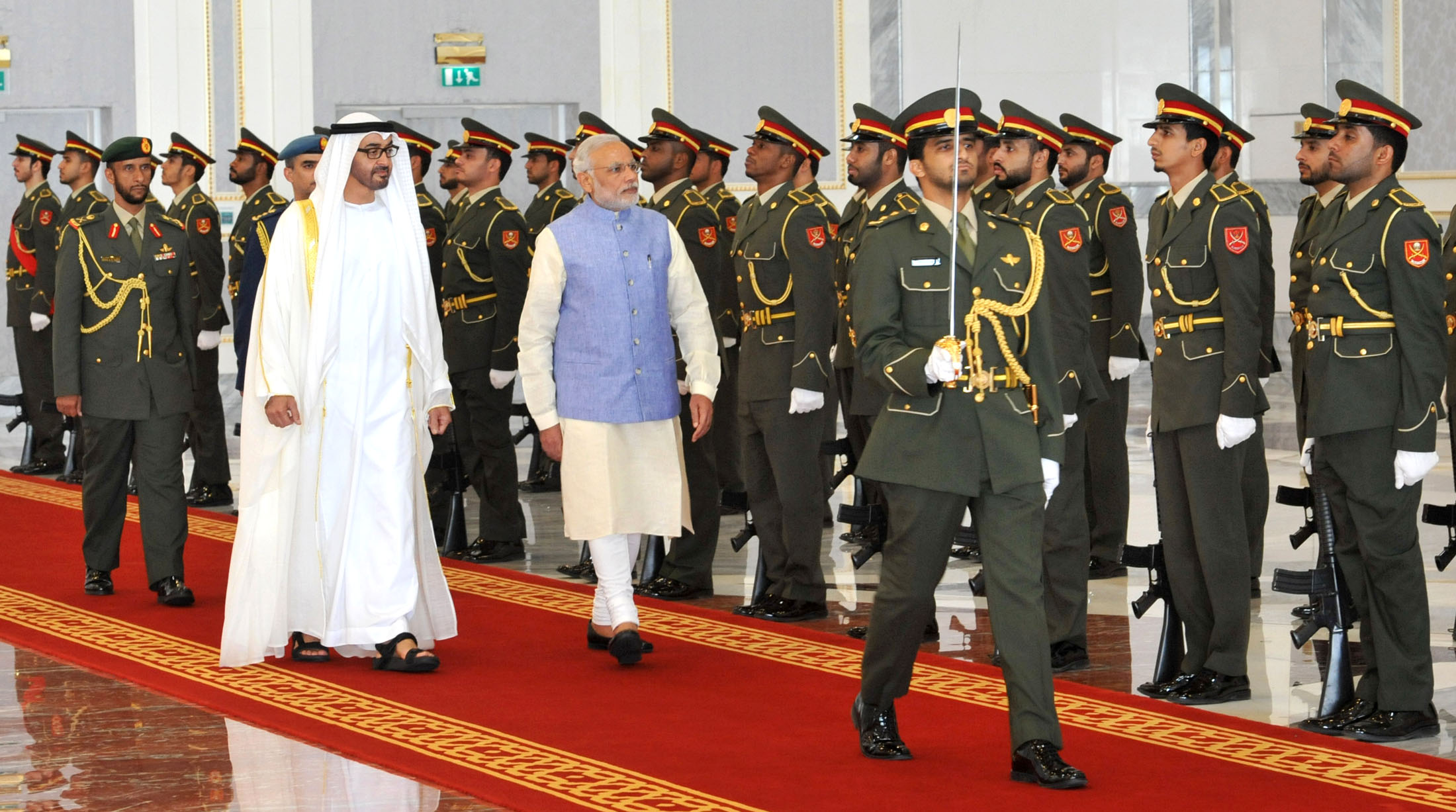 Indian Prime Minister Narendra Modi inspecting the Guard of Honour on his arrival at Abu Dhabi. Crown Prince of Abu Dhabi, His Highness Sheikh Mohammed bin Zayed Al Nahyan is also accompanying him during his previous visit to UAE.