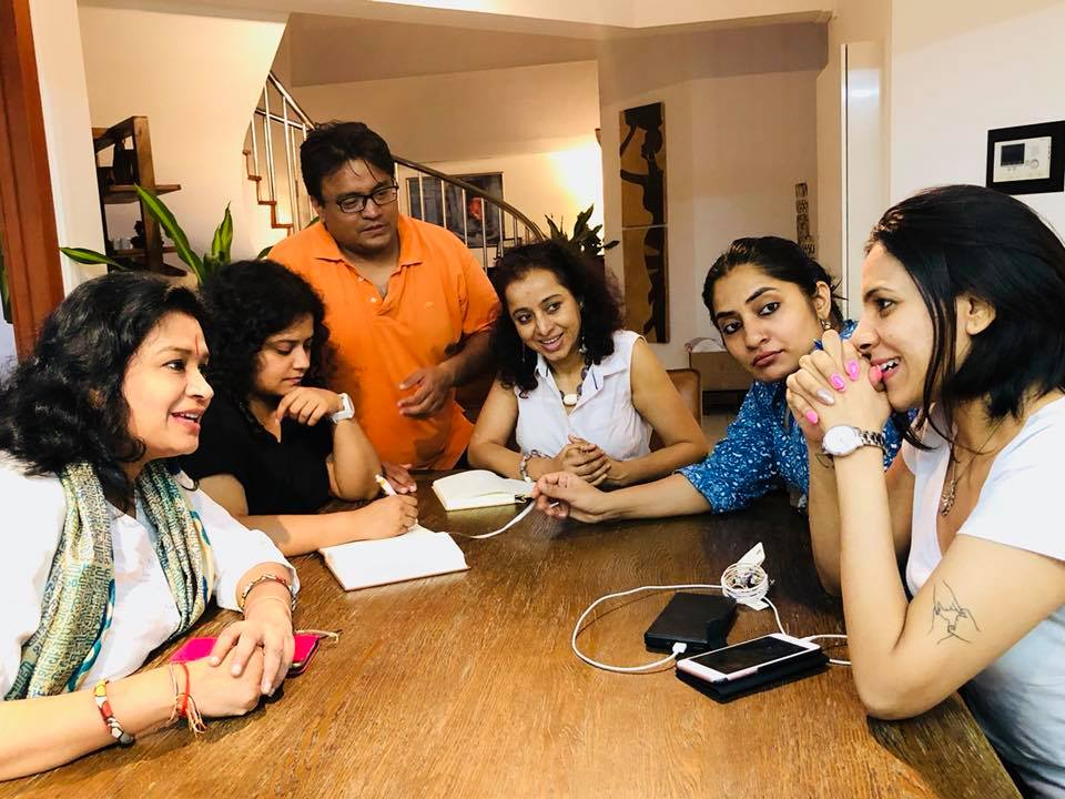 Preparations for Dastak 2018 in full swing with (from left to right) Gauri Shrivastava Gupta, Rayana Pandey, Aditya Mazumdar, Shalakaa Karnik Ranadive, Soniaponnamma Devaiah and Sharul Channa.