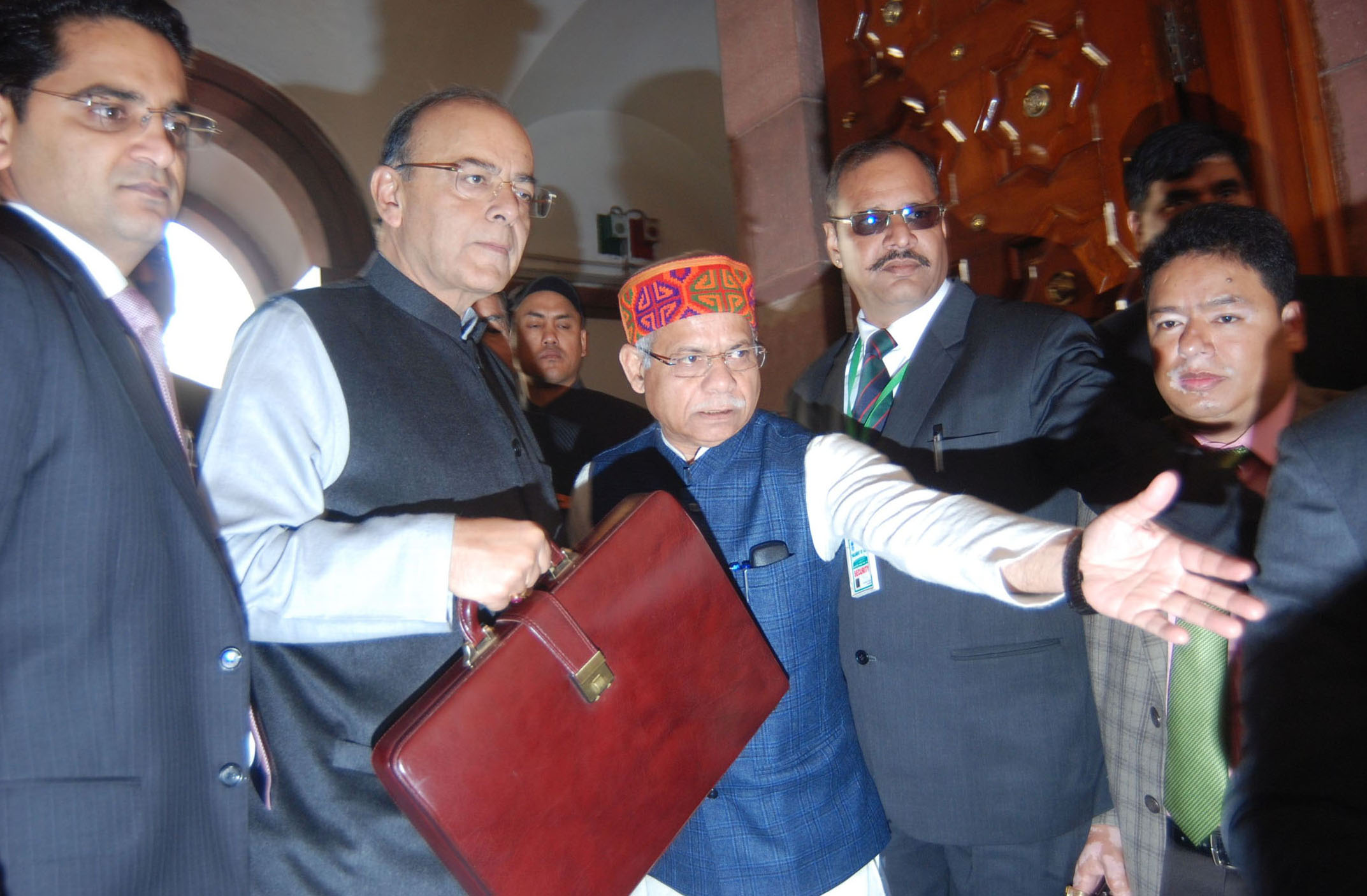 Indian Union Minister for Finance and Corporate Affairs Arun Jaitley (second left) along with the Minister of State for Finance, Shri Shiv Pratap Shukla arrives at Parliament House to present the General Budget 2018-19, in New Delhi on February 1, 2018. Photo courtesy: PIB