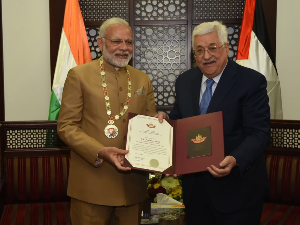 In a significant gesture President Mahmoud Abbas conferred Narendra Modi with Grand Collar Honour which is Palestine's highest honour in recognition of PM's wise leadership