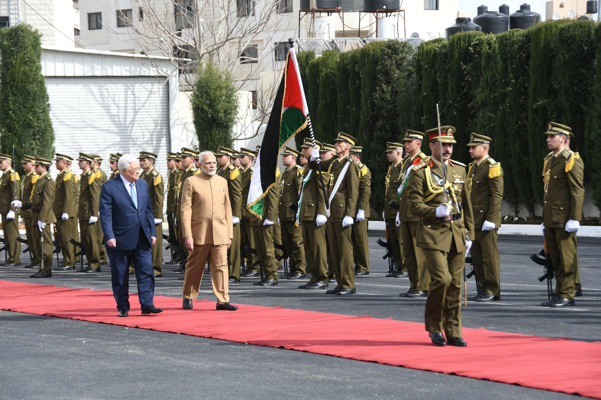 In a first-ever visit by an Indian Prime Minister to Palestine, PM Modi arrives in Ramallah to a rousing welcome. India and Palestine enjoy time-tested and close friendship driven by former long-standing support to the Palestinian cause.