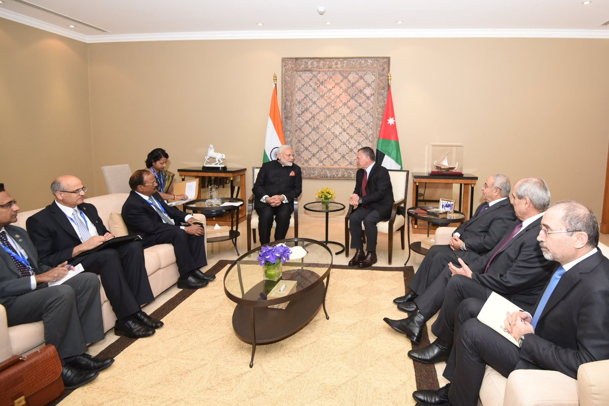 Indian Prime Minister Narendra Modi meeting with Jordan King Abdullah II. The former expressed sincere thanks for logistical support extended for smooth facilitation for his Palestine visit.