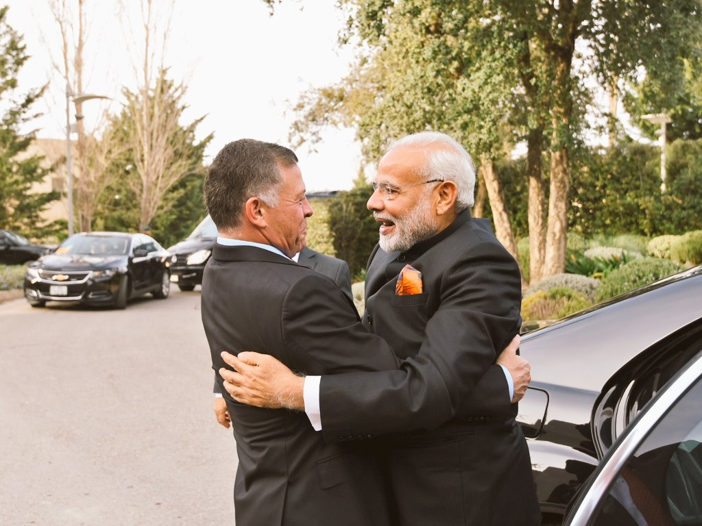 Indian Prime Minister Narendra Modi embracing Jordan King Abdullah II on his arrival. Modi said that he was looking forward to the visit of the King in end-February. He also expressed sincere thanks to Jordan for logistical support extended for smooth facilitation for his Palestine visit.