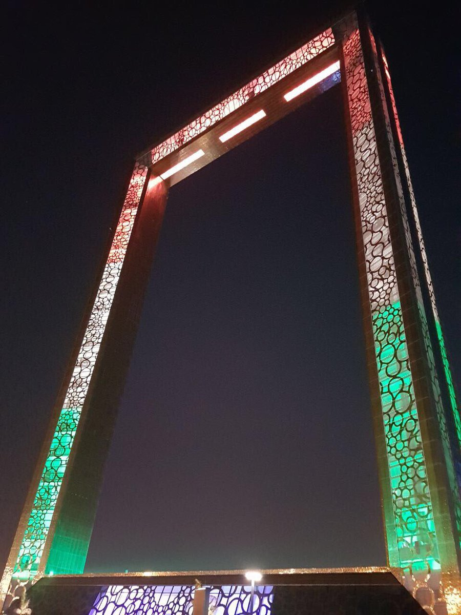 Dubai Frame draped in Indian tricolour on the arrival of Indian Prime Minister Narendra Modi to the United Arab Emirates.