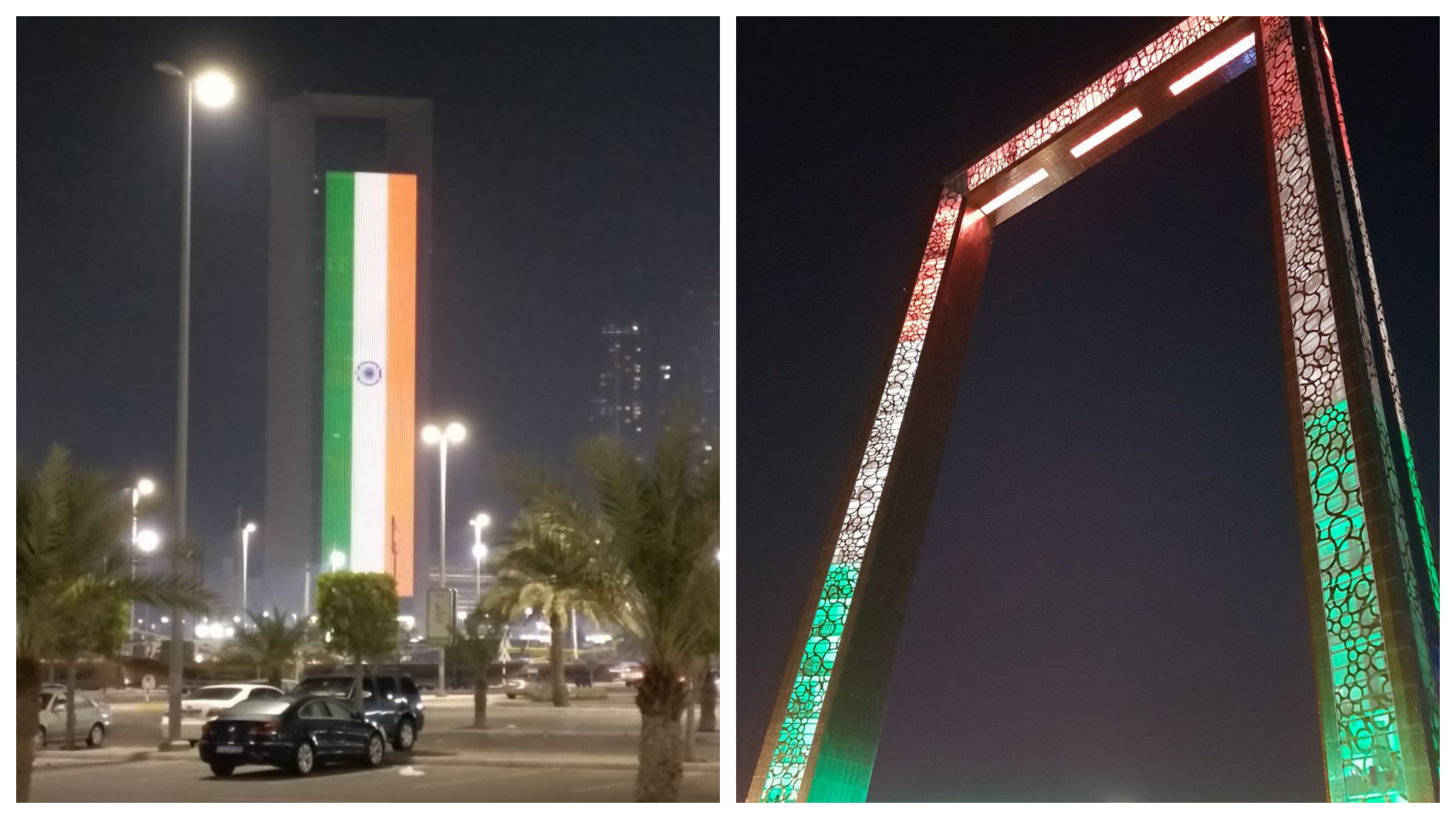 Indian tricolour lights up ADNOC Group headquarters, Abu Dhabi, the Dubai Frame and the Burj Khalifa in anticipation of the arrival of Prime Minister Narendra Modi.