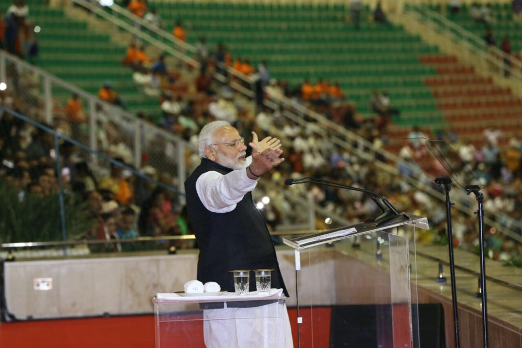 Indian Prime Minister Narendra Modi addressing a massive gathering of the Indian diaspora at the Sultan Qaboos Sports Complex in Muscat during his first visit to Oman. Sultan Qaboos accorded a very special honour to PM to address the community from the Royal Box.