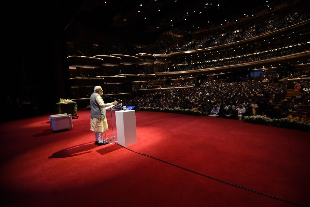 Prime Minister Narendra Modi addresses the enthusiastic Indian community at the iconic Dubai Opera in the UAE.