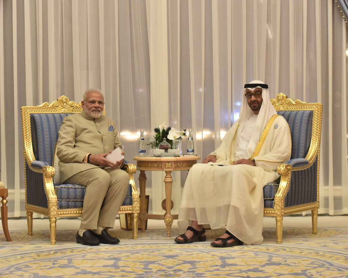 Prime Minister Narendra Modi meeting Crown Prince Mohamed bin Zayed Al Nahyan at Abu Dhabi. The two leaders discussed steps to upgrade the relationship between India and the UAE.