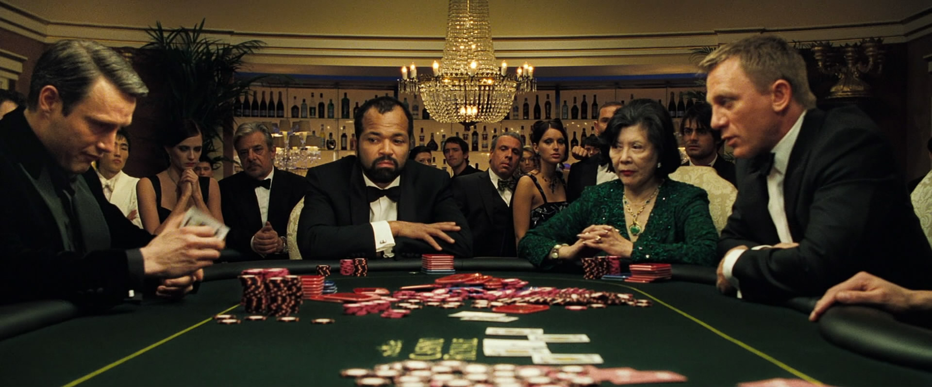 A scene from the movie Casino Royale highlighting the poker game that was pivotal to the plot.