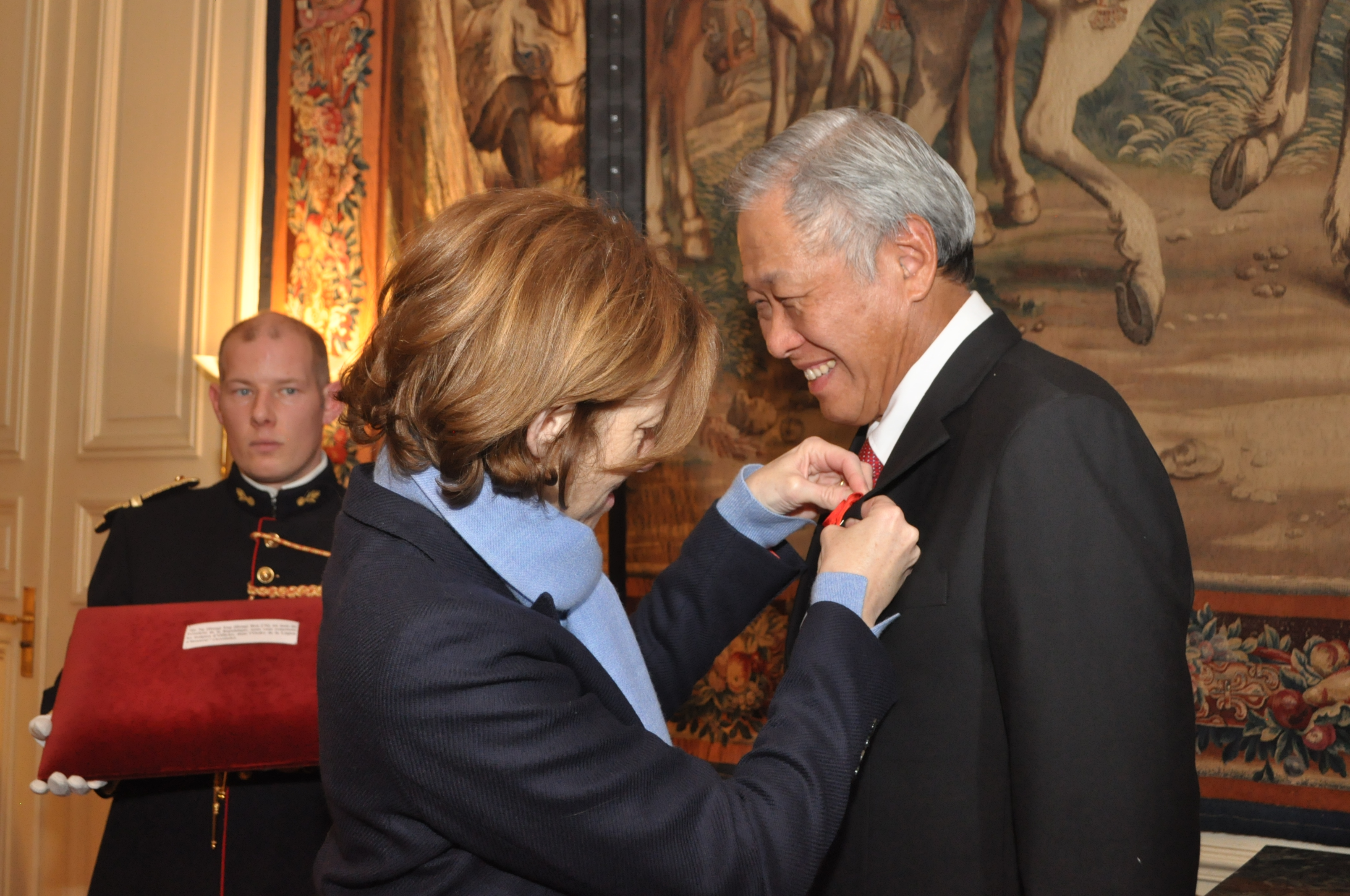 Minister for Defence Dr Ng Eng Hen being conferred the Legion of Honour by Florence Parly, on behalf of President of France Emmanuel Macron.