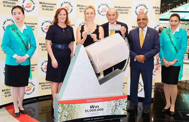 Elina Svitolina (third from left) conducting the DDF Millennium Millionaire raffle draw in Dubai.