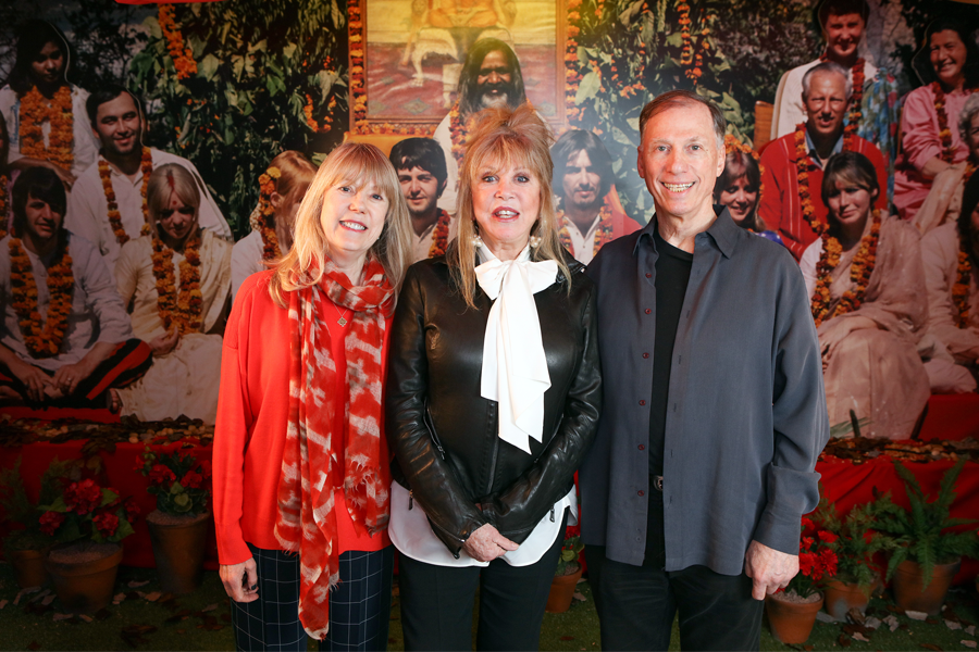 [LEFT] Jenny Boyd, a Ph.D, author, Swinging 60's model, former wife of drummer Mick Fleetwood, sister-in-law to both Beatle George Harrison and Eric Clapton. [CENTRE] Pattie Boyd, the Swinging 60's model, the first wife of George Harrison who met when she was in school, and is the only surviving 'First Wife of a Beatle'.  [RIGHT] Paul Saltzman, who photographed the Boyd sisters with The Beatles  in Rishikesh in 1968
