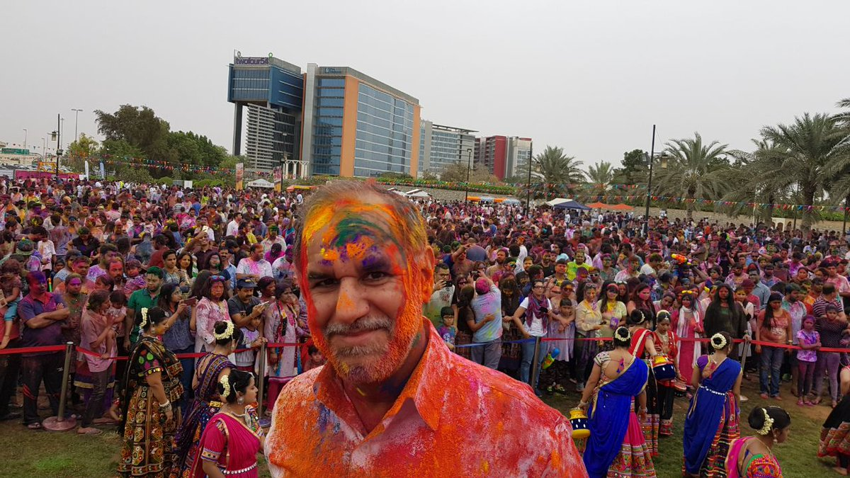 Holi celebrations at the Khalif Park in Abu Dhabi by the Indian expat community. Photo courtesy: MEA