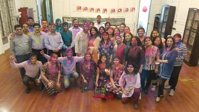 Holi celebrations at the Consulate-General of India in New York by the Indian expat community. Photo courtesy: MEA