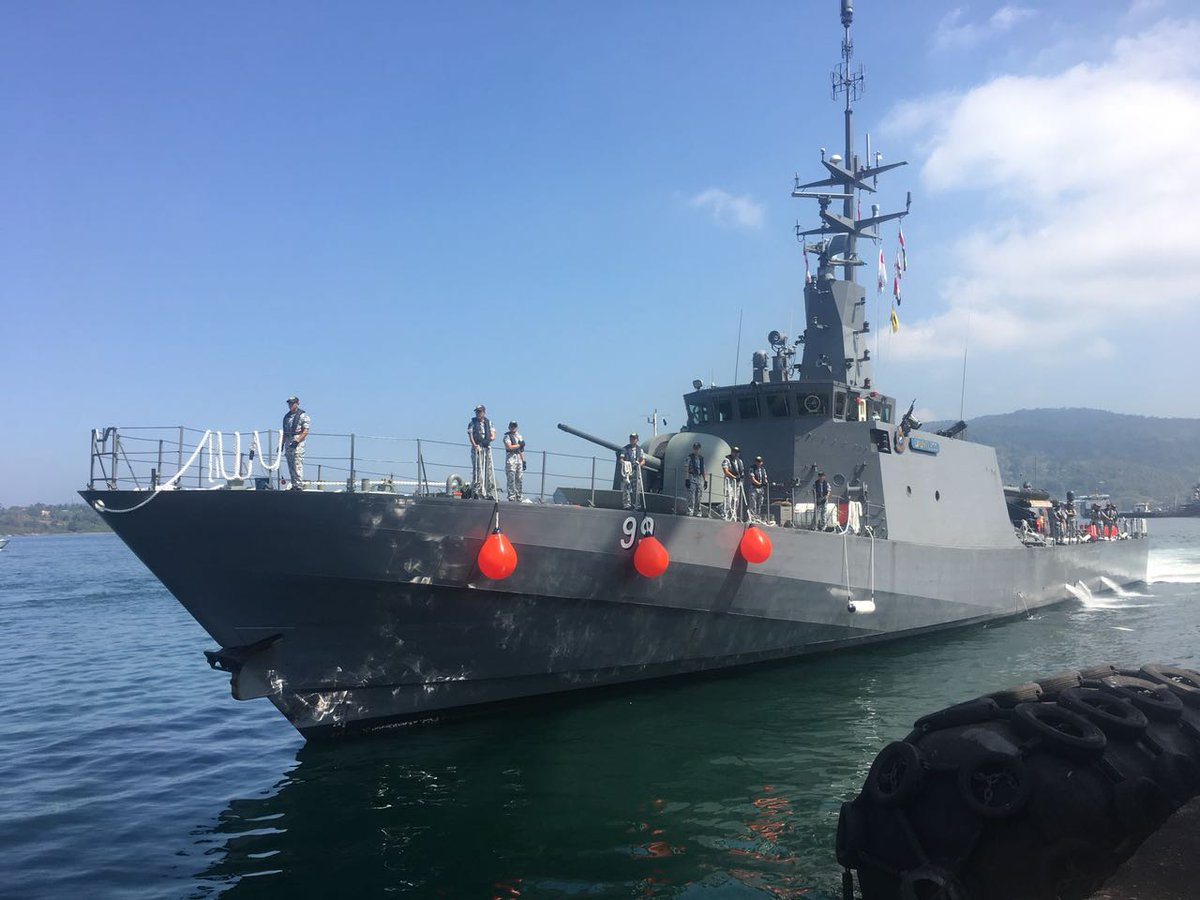 Republic of Singapore Navy's RSS Dauntless arrives at Port Blair for the multilateral MILAN Exercise. Photo courtesy: Indian Ministry of Defence