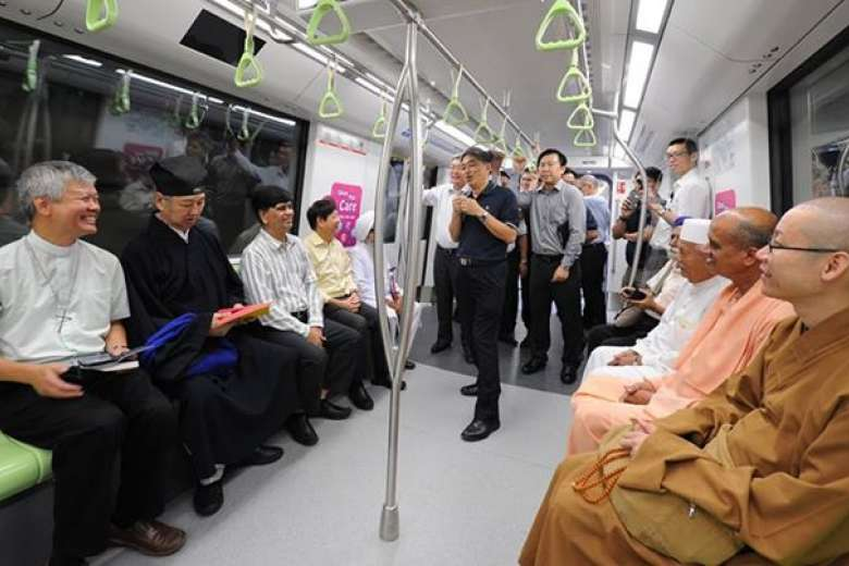 Leaders of Singapore's Inter Religious Organisation taking a private ride on the new Downtown line. Photo courtesy: Khaw Boon Wan Facebook