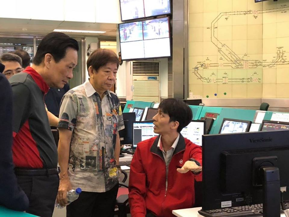 Transport Minister of Singapore Khaw Boon Wan present at the MRT Maintenance Operation Centre to observe testing on the North-South Line and the East-West Line.