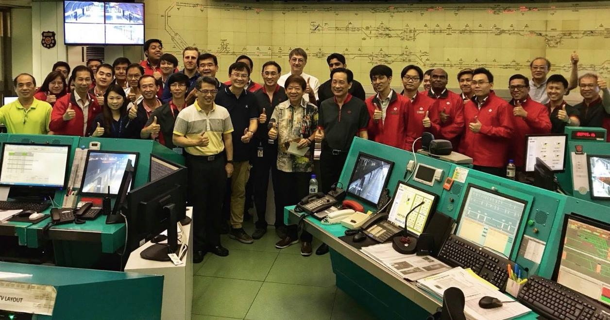 Transport Minister of Singapore Khaw Boon Wan along with the staff of MRT Maintenance Operation Centre of Singapore.