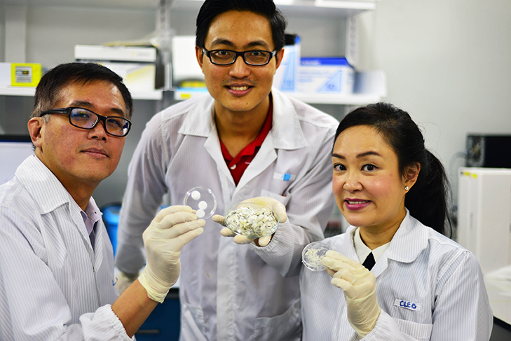 NTU Singapore scientists have found potential biomedical uses for collagen derived from fish scales which are usually discarded. From left: Associate Professor Andrew Tan, research fellow Dr Wang Jun Kit and Assistant Professor Cleo Choong. Photo courtesy: NTU
