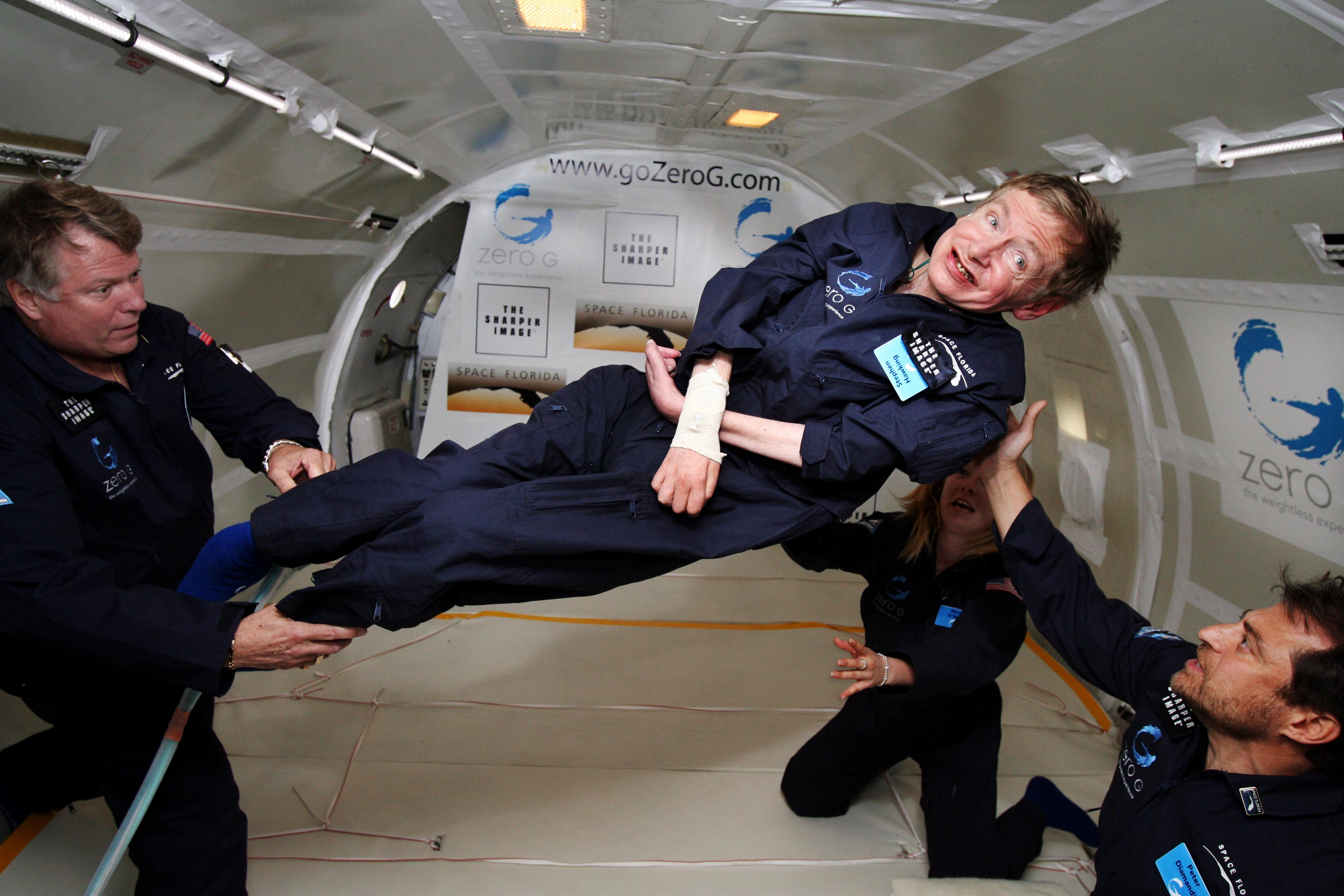 Stephen Hawking on a weightless suborbital flight, made possible because of his theories on gravity.