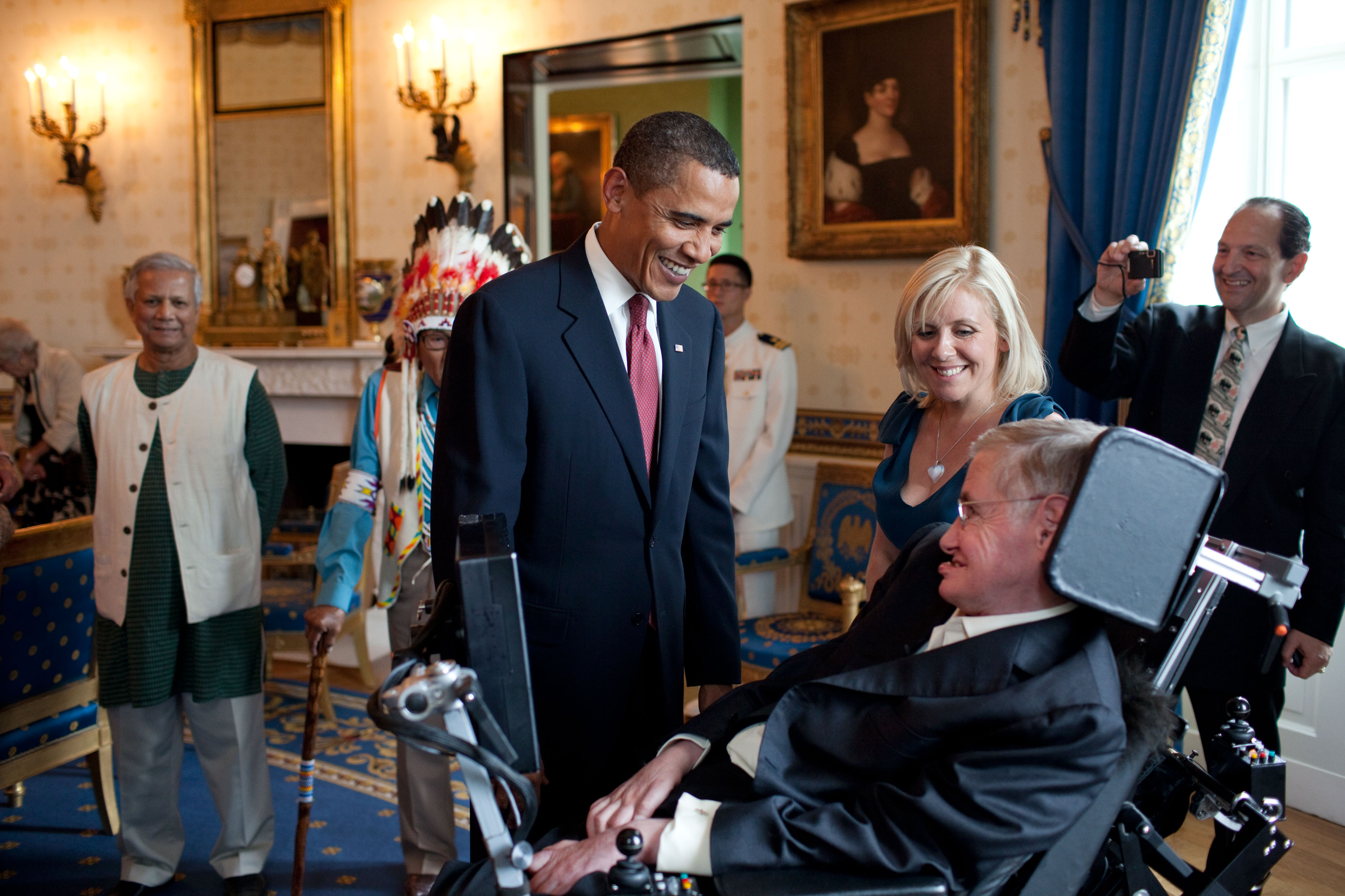 Hawking meeting US President Barack Obama.