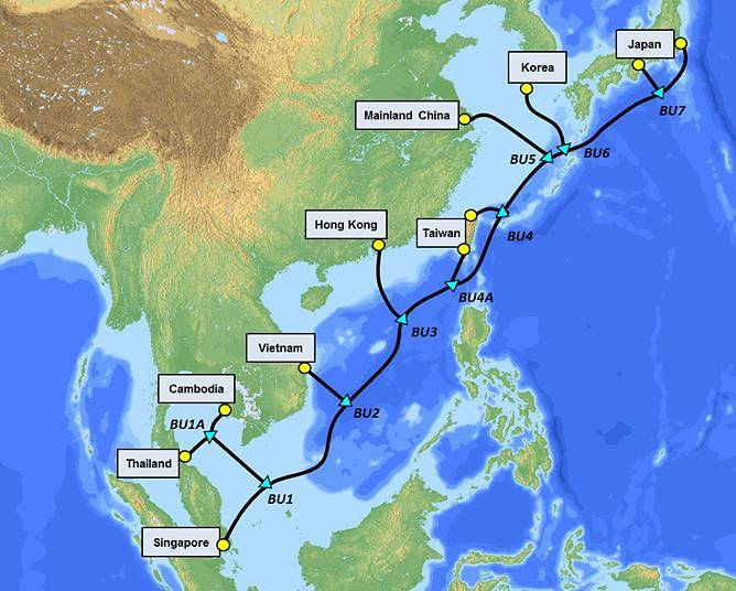 The 10,500-km submarine cable will connect Singapore with Thailand, Cambodia, Vietnam, Hong Kong, Taiwan, mainland China, South Korea and Japan. Photo courtesy: Singtel